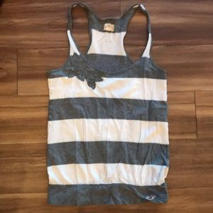 Grey and white striped tank top